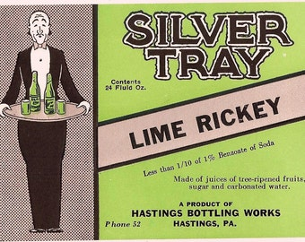 1930s Silver Tray Lime Rickey bottle label-2 digit phone number