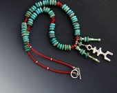 Southwest Turquoise Sterling Petroglyph Coral Necklace
