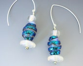 Jewelry Earrings Blue Dichroic Spinner Dichroic Disks