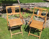 Vintage  Childs Wood Folding Chairs