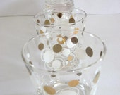 Drinking Glasses Atomic Gold and White Circles