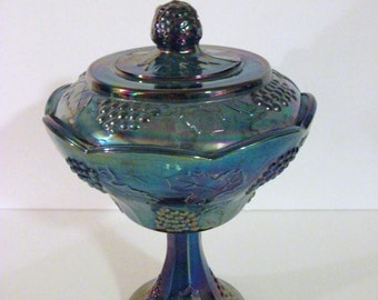 Vintage  Blue  Glass Pedestal Bowl