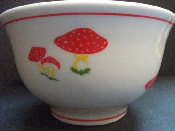 Vintage Porcelain  Bowl with Mushrooms