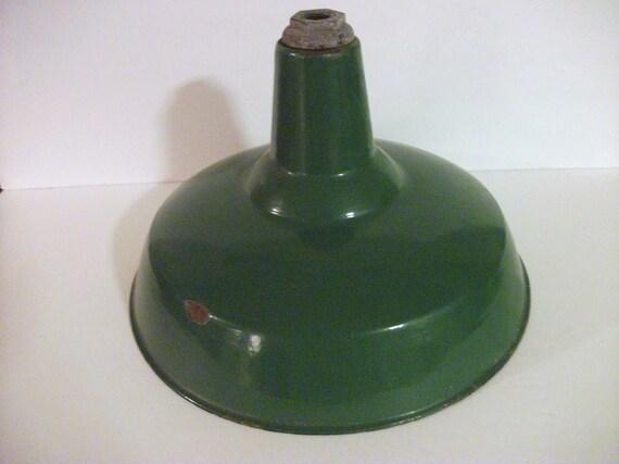 Vintage Green Enamel  Hanging Lamp