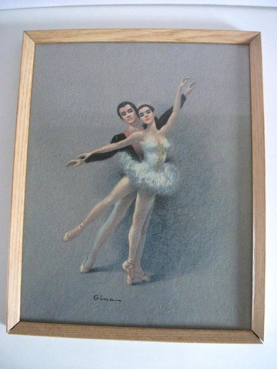 1950 S Ballet Dancers Lithograph By Gina Faux Oil Painting