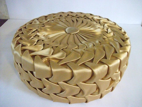 Vintage Gold  Satin Pleated Pillow