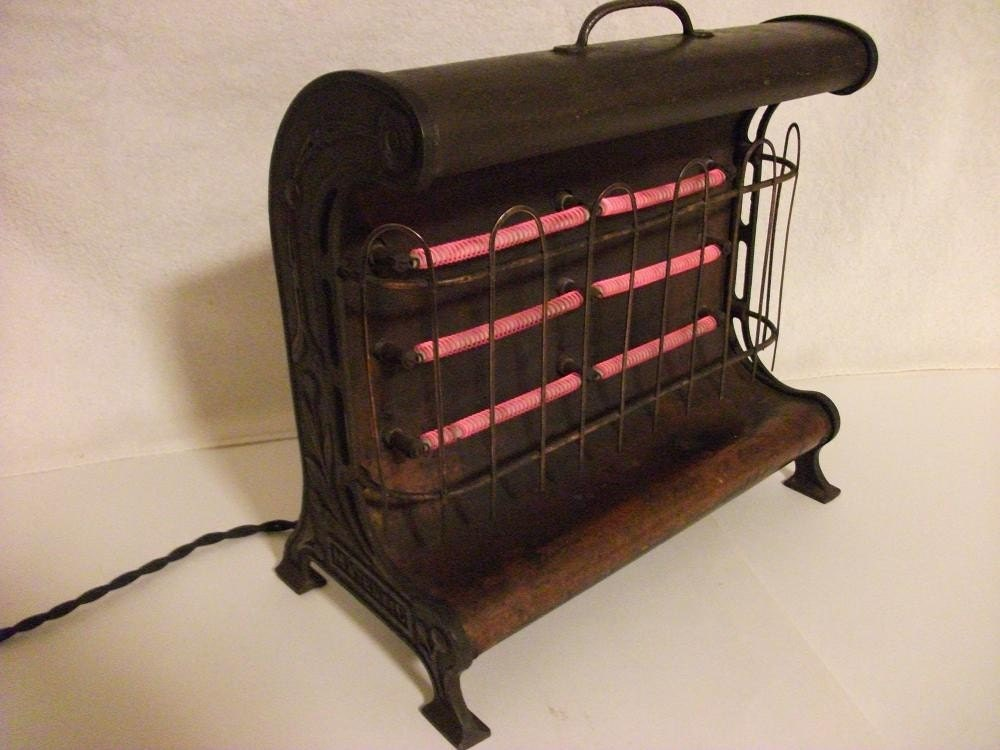 Vintage Electric Heater Brass Cast Iron