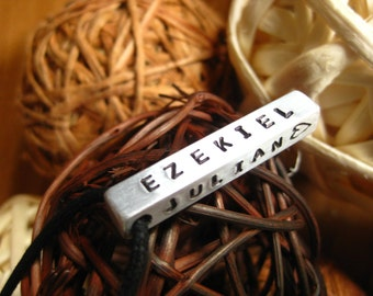 Custom Bar Necklace - Thick Rectangle on Black Cord - Hand Stamped By Rawkette