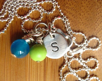 Initial Disc With Colourful Beads -Stamped By Rawkette
