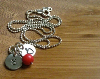 Teacher Necklace - Initial And An Apple - By Rawkette