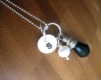 Initial with Briolette and Pearl - Black and White - Hand Stamped By Rawkette