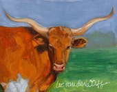 HOLD FOR JDEALY Whatchu Lookin At - Original Southwestern Fine Art Texas Longhorn Steer Oil Painting Southwest Decor