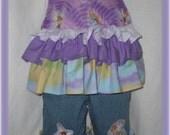 OOC Overdolled Ruffled Disney Tinkerbell Fairy Bib Overalls denim crop pants sz 6-7
