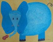 Art for children, original elephant painting, baby gift, nursery, blue, yellow, art for kids by petitepaintbrush on Etsy