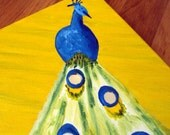 Peacock art for children, blue and yellow kids art