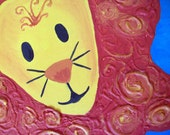 Nursery wall art lion painting, baby gift, blue and orange original painting