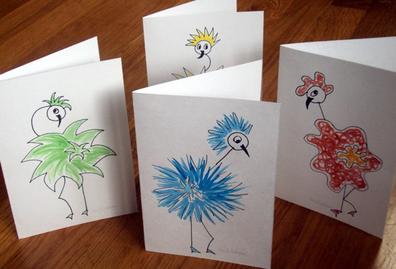 Blank greeting cards, set of 4 bird art  thank you cards