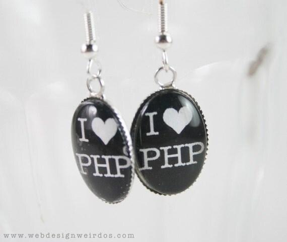 I Love PHP Earrings. I Heart PHP dangle glass hook earrings. Geeky Web Designer Jewelry.