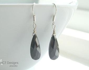 Black Onyx teardrop, silver, earrings - LEANNE
