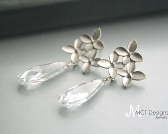 Cubic Zirconia, crystal and silver flower Earrings