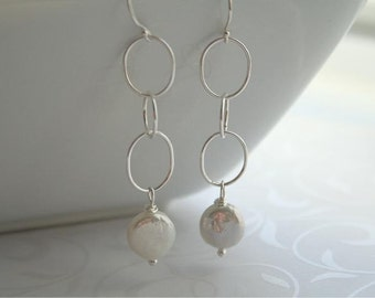 Long pearl and silver earrings - LYNN