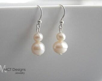 Freshwater white pearl, silver, dangle earrings