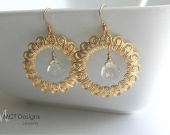 Gold filigree, citrine,  earrings - SASHA