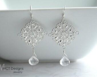 Silver filigree and crystal quartz earrings - HAYLEE