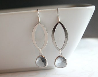 Long silver marquise, grey crystal earrings - JULIANNE