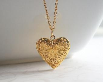 Heart locket, gold, long, filigree necklace - GOLD HEART LOCKET
