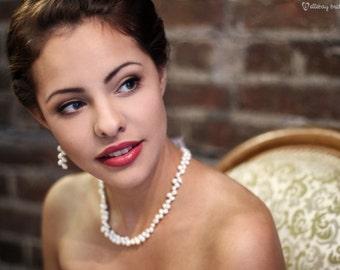 Pearl, long dangle earrings - IVY