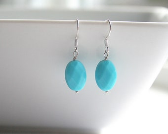 Small turquoise blue, oval, dangle, silver earrings - BLUE (Oval)