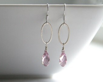 Amethyst crystal, silver oval link, earrings - KAMRYN