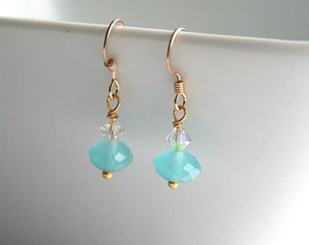 Aqua rondelle, clear swarovski, gold earrings - MINT
