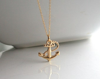 Gold anchor charm necklace - GOLD ANCHOR