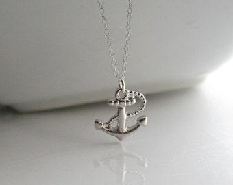 Silver anchor, charm, necklace - SILVER ANCHOR