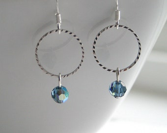Montana blue swarovski, silver round link, earrings - MONTANA