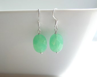 Green mountain jade, silver, earrings - GREEN JADE
