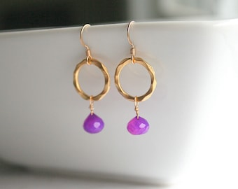 Royal purple chalcedony, gold circle, earrings - ARIEL