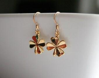 Gold 4 leaf clover earrings - GOLD CLOVER