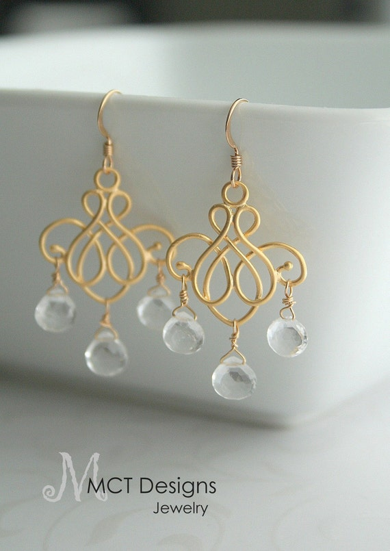 Gold chandelier and crystal earrings - PAYTON