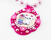 Super Happy Macaron Time Kitty Cameo Pendant/Necklace with swarovski pearls and crystals kawaii japanese anime style