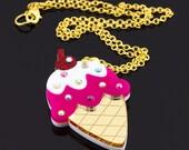 Vanilla and Strawberry Ice Cream Cone Layered Laser Cut Acrylic Pendant with Swarovski Crystal Sprinkles