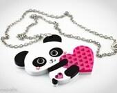Super Cute Panda Bear Pendant/Necklace Holding a heart Laser cut Acrylic