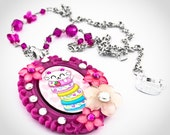 Beautiful Kitty Loves Macarons Cameo Pendant With Flowers on Swarovski Crystal Beaded Chain