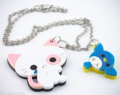 Kawaii Sad Kitty Pendant/Necklace with Cute Bird Charm