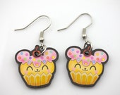 Kawaii Cupcake Bear Printed Acrylic Earrings cute japanese lolita harajuku anime style/inspired