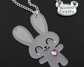 LAST ONE Mini Super Happy Bunny Pendant/Necklace Laser Cut Frosted Translucent Acrylic with Swarovski Crystals