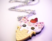 Ice Cream Cone Kitty Pendant/Necklace With Swarovski Crystal Sprinkles Laser cut layered acrylic