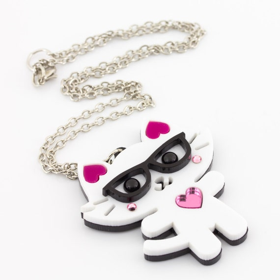 Geeky Kitty With Glasses Laser Cut Layered Acrylic Pendant Kawaii Japanese Anime Style